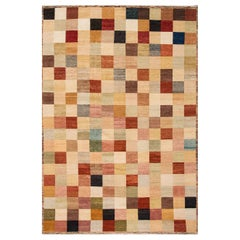 Modern Multicolored Indian Gabbeh Style Wool Rug