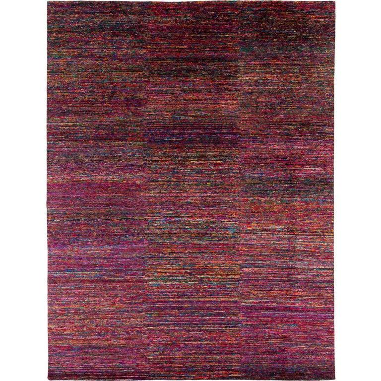 Modern Multicolored Silk Area Rug by Carini