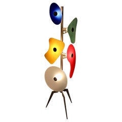 Modern Multicolored Vintage Glass Floor Lamp Orbital Terra Foscarini Italy