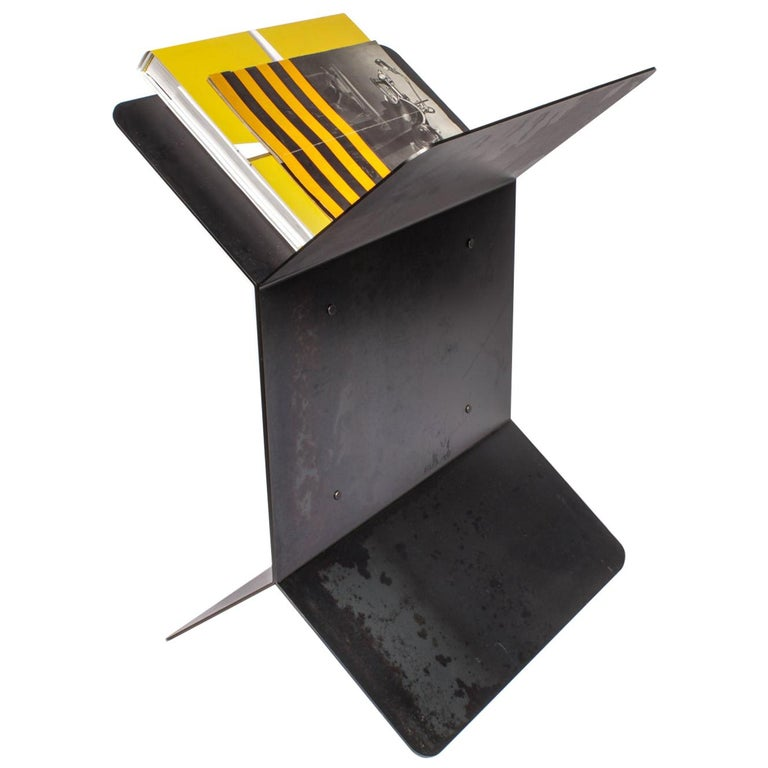 Modern Multifunctional Steel Side Table and Rack For Sale