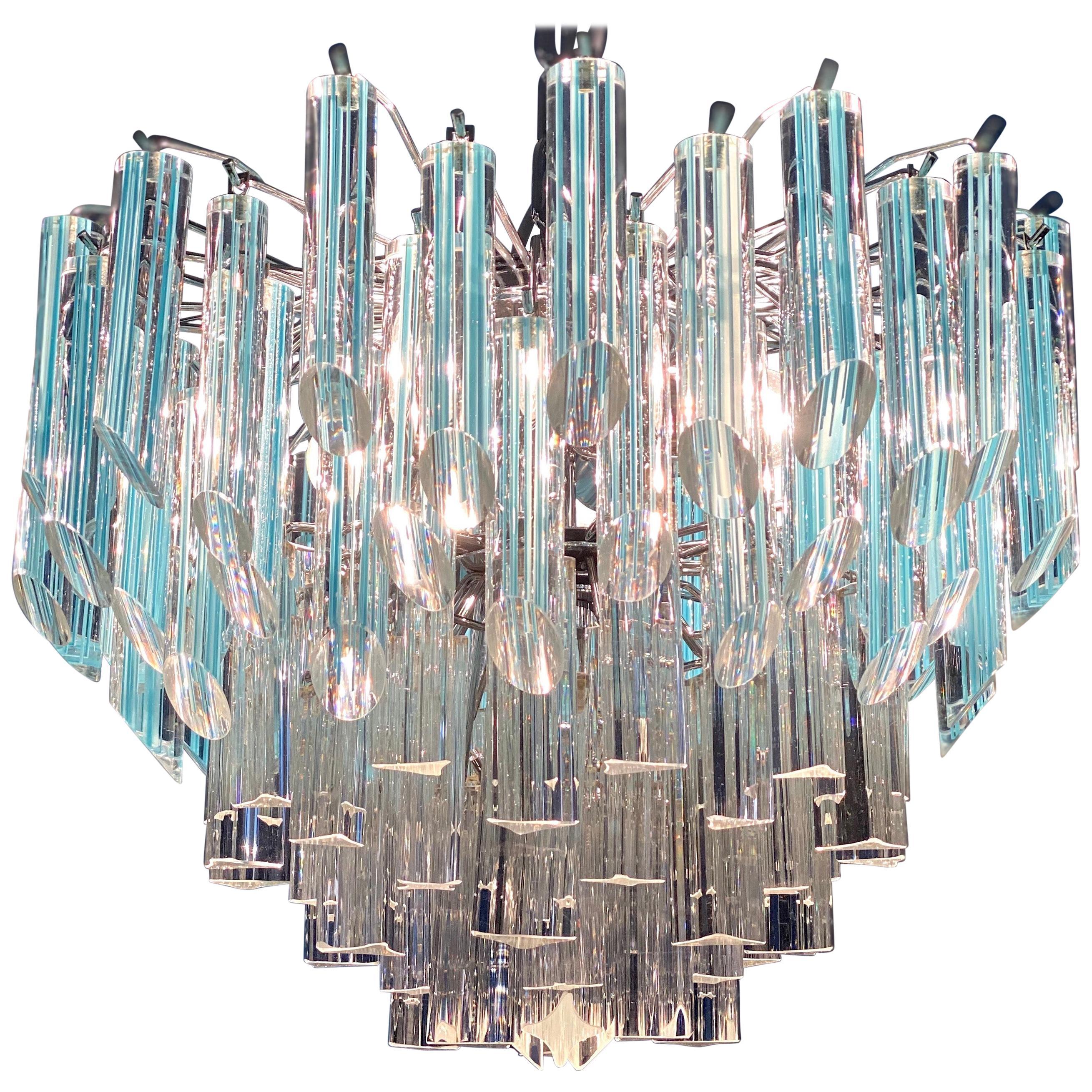 Modern Multitier Crystal Prism Murano Glass Chandelier, 1970