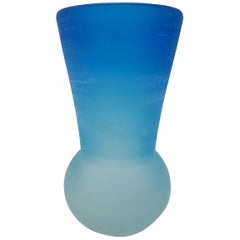 "Modern Murano Blue Glass Vase, ""Scavo"" Finish by Cenedese, Mid-1980s"