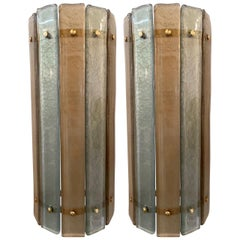 Modern Murano Champagne and Silver Glass Sconces with Brass