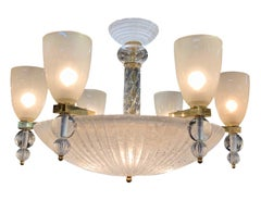 Modern Murano Glass 6-Arm Chandelier