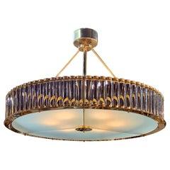 Modern Murano Glass and Brass Chandelier