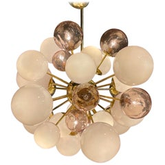 Modern Murano Glass and Brass Pink Cloud Chandelier