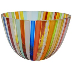 Modern Murano Glass Bowl Centerpiece, Bright Rainbow Colors by Cenedese, 1998