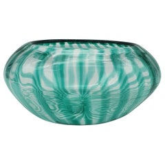 Modern Murano Glass Bowl with Green Canes by Gino Cenedese, 1998