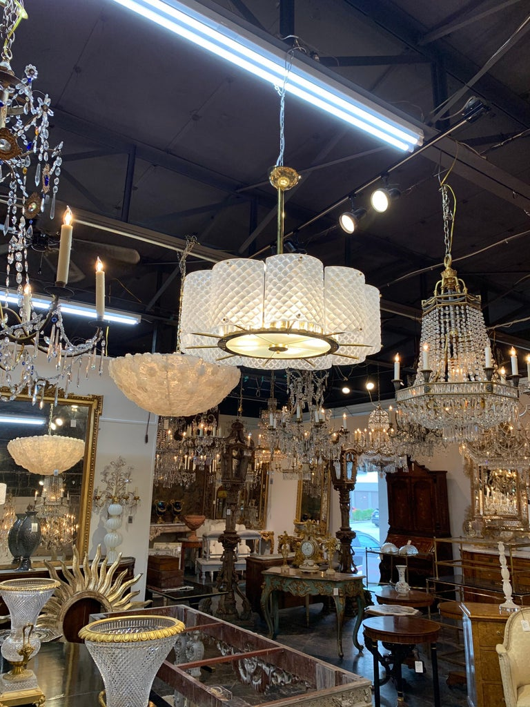 Brass Modern Murano Glass Chandelier For Sale