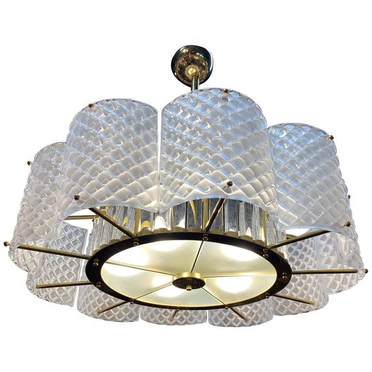 Modern Murano Glass Chandelier For Sale