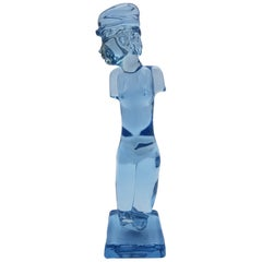 Modern Murano Glass Female Torso/Sculpture, Sky Blue Color by Cenedese