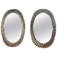 Modern Murano Glass Oval Mirrors with Brass Trim