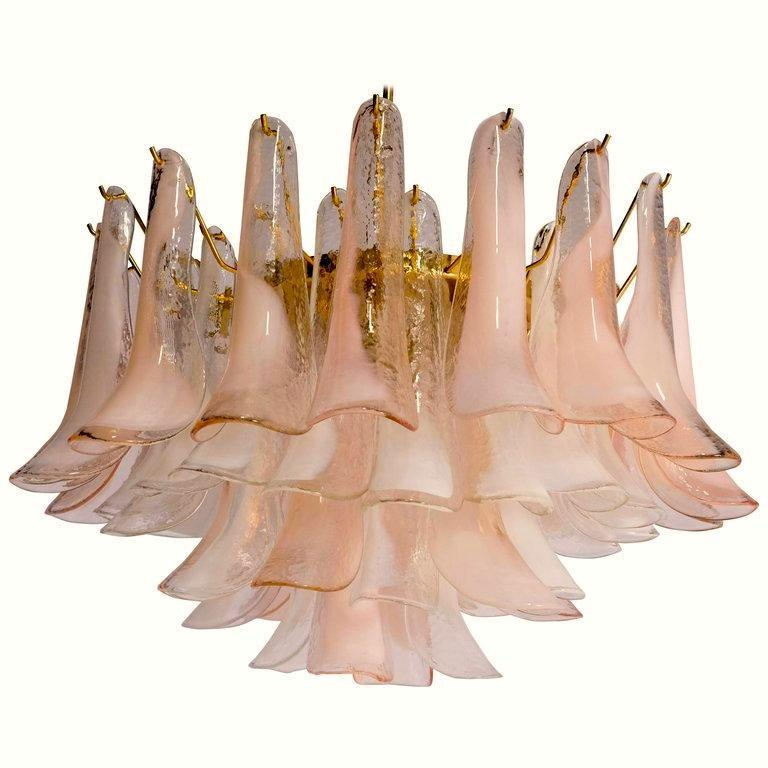 Modern Murano Glass Pink and White Petals Chandelier For Sale 1