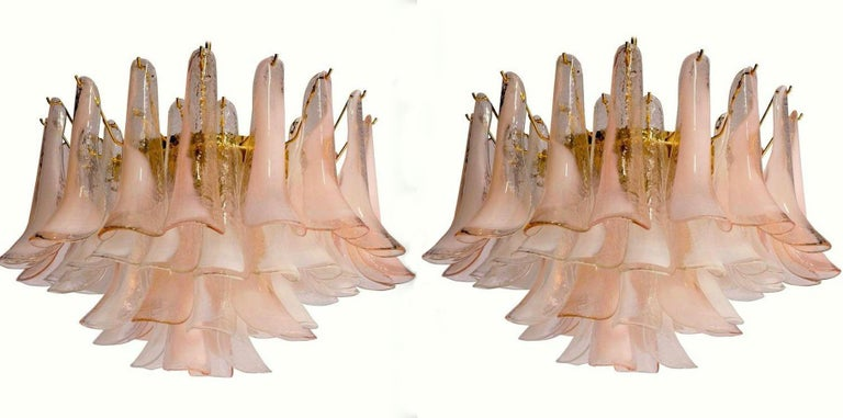 Modern Murano Glass Pink and White Petals Chandelier For Sale 2