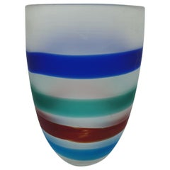 Modern Murano Glass Vase with Red, Blue and Green Bands by Cenedese, 1990s