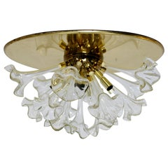 Modern Murano Italy Hand Blown Glass Flowers Brass Pendant Light Fixture, 1970s