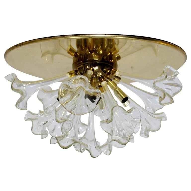 Modern Murano Italy Hand Blown Glass Flowers Brass Pendant Light Fixture, 1970s For Sale