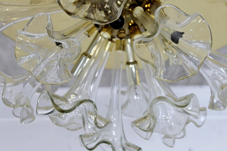 Italian Modern Murano Italy Hand Blown Glass Flowers Brass Pendant Light Fixture, 1970s For Sale