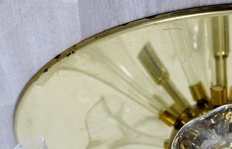 Murano Glass Modern Murano Italy Hand Blown Glass Flowers Brass Pendant Light Fixture, 1970s For Sale