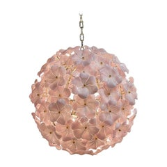 Modern Murano Pink Flower Globe Chandeliers