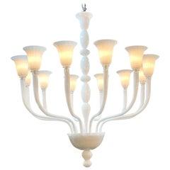 Modern Murano White Glass 12-Light Chandelier