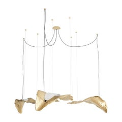21th Century Modern Nature Inspired Suspension Lamp, Gold Leafs Chandelier