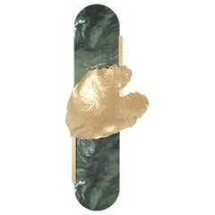 Modern Nature Inspired Wall Lamp Leaf Shape Sconce, Green Marble & Gold Details