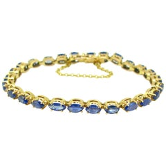 Modern Navette Cut 4 Carat Sapphires Bracelet, 18 Karat Rose and Yellow Gold