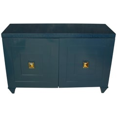 Modern Navy Lacquered Wood Serving Cabinet with Brass Knobs