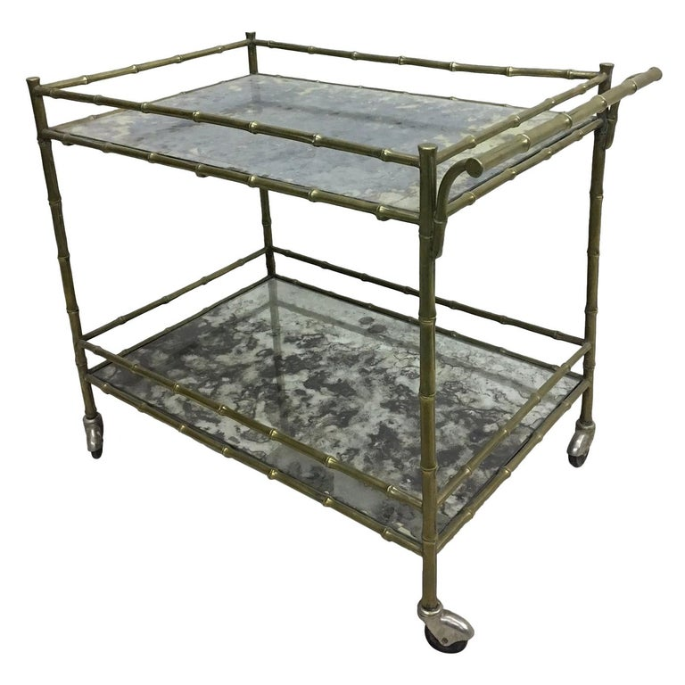 Modern Neoclassical Brass Faux Bamboo and Mirror Bar Cart by Maison Baguès For Sale