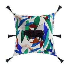 Modern Neon Pig Cushion, Printed Pattern Velvet Pillow Black Fringes Tassels