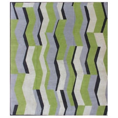Modern Nepalese Wool and Silk Rug in Citron, Apple Green, Black, Gray/Lavender