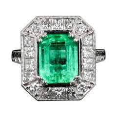 Modern New 2.89CT Columbian Emerald and Diamond Ring GIA Certified