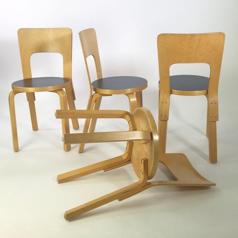 Birch Modern Nordic Design Alvar Aalto Iconic Dining Chair by Artek Finland Co., 1980s For Sale
