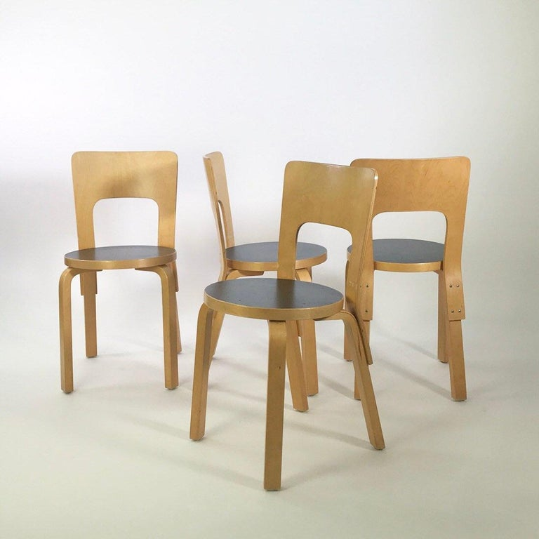 Modern Nordic Design Alvar Aalto Iconic Dining Chair by Artek Finland Co., 1980s For Sale 2