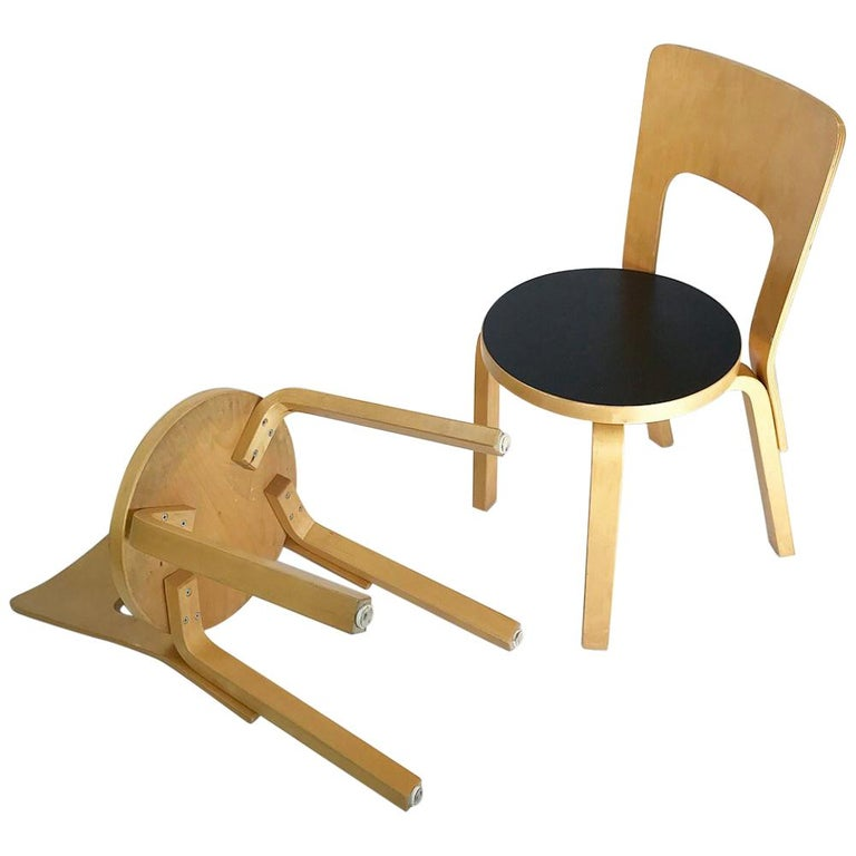 Modern Nordic Design Alvar Aalto Iconic Dining Chair by Artek Finland Co., 1980s For Sale