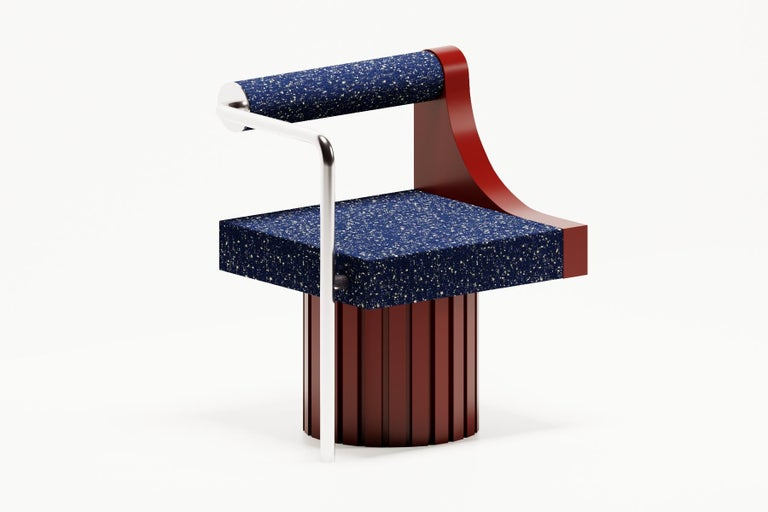 This Modern chair is made of high quality painted wood, metal chrome frame and Raf Simons upholstery.