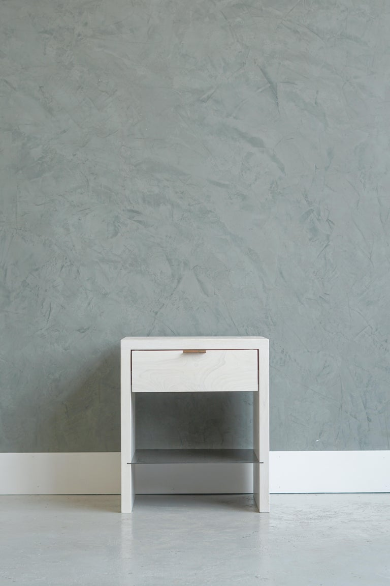 American Modern NTW Side Table in Bleached Ash with Leather Pulls by Ordinal Indicator  For Sale