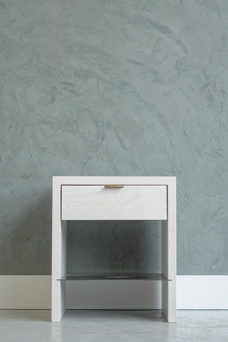Modern NTW Side Table in Bleached Ash with Leather Pulls by Ordinal Indicator  For Sale 1