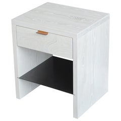 Modern NTW Side Table in Bleached Ash with Leather Pulls by Ordinal Indicator