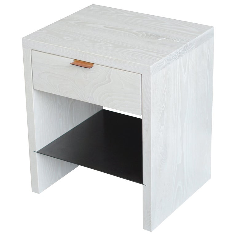 Modern NTW Side Table in Bleached Ash with Leather Pulls by Ordinal Indicator  For Sale