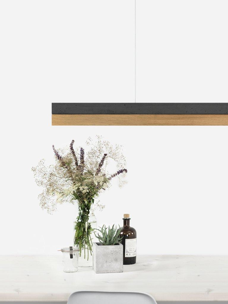 Modern Oak and Black Concrete Pendant Light, Medium Contemporary Table Light In New Condition For Sale In London, GB