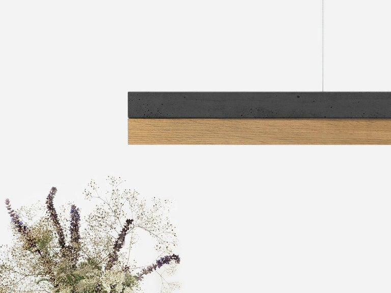 Modern Oak and Black Concrete Pendant Light, Medium Contemporary Table Light For Sale 1