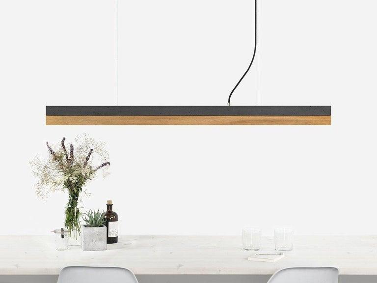 Modern Oak and Black Concrete Pendant Light, Medium Contemporary Table Light For Sale 2