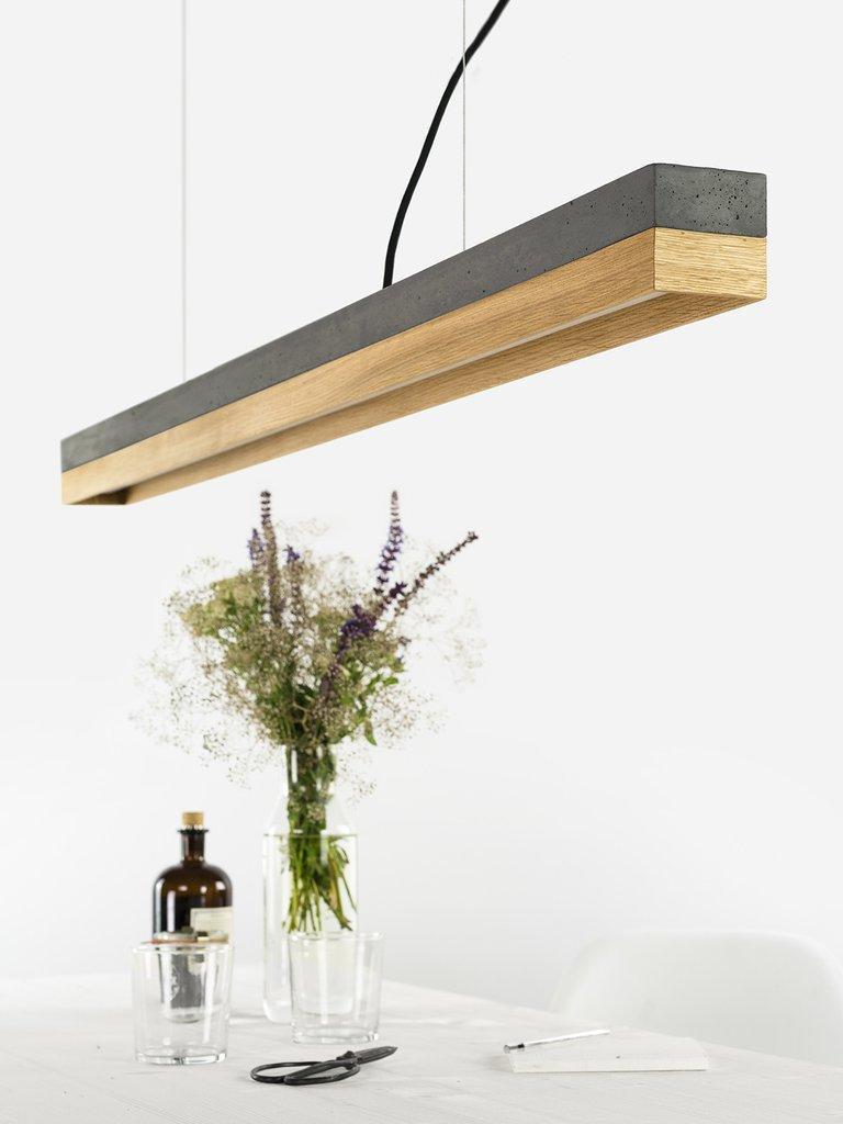Modern Oak and Black Concrete Pendant Light, Medium Contemporary Table Light For Sale 3