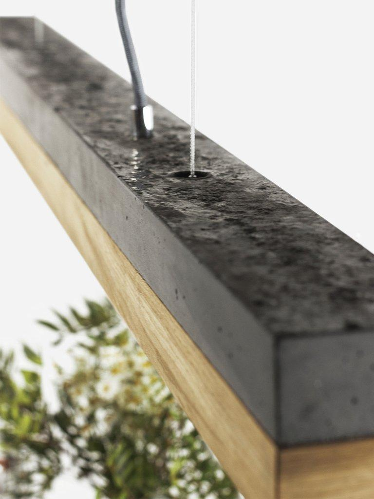 Modern Oak and Black Concrete Pendant Light, Medium Contemporary Table Light For Sale 4