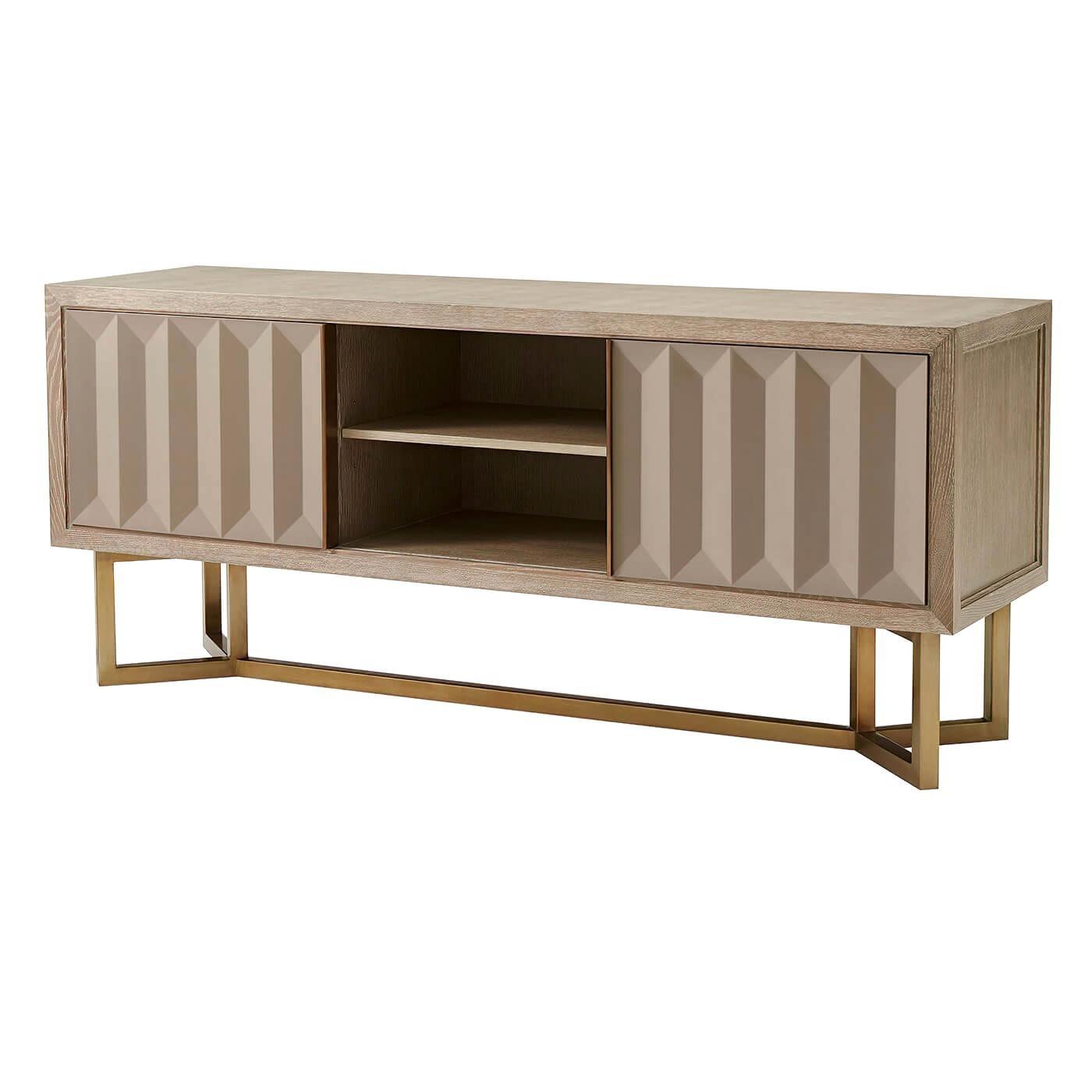 Modern Oak and Brass Cabinet