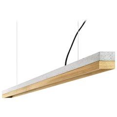 Modern Oak and Grey Concrete Pendant Light, Large Contemporary Table Light