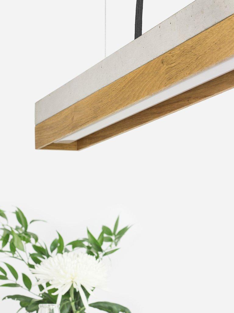 German Modern Oak and Grey Concrete Pendant Light, Medium Contemporary Table Light For Sale