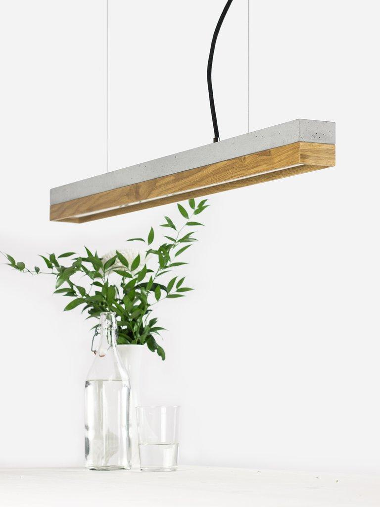 Modern Oak and Grey Concrete Pendant Light, Medium Contemporary Table Light In New Condition For Sale In London, GB